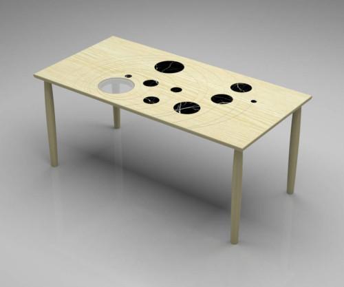 Tavolo rettangolare in legno massello modello GALILEO