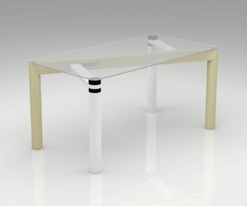 Tavolo rettangolare in legno massello e vetro temperato modello INCISO